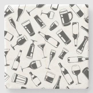Black Pattern Drinks and Glasses Stone Beverage Coaster