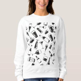 Black Pattern Drinks and Glasses Sweatshirt