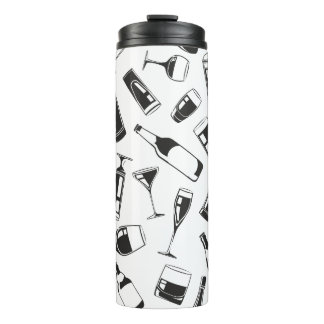 Black Pattern Drinks and Glasses Thermal Tumbler