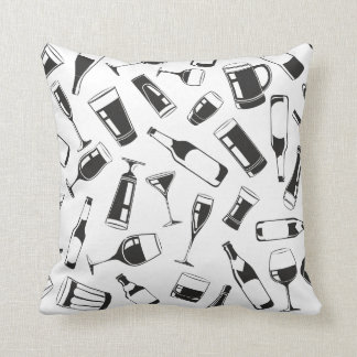 Black Pattern Drinks and Glasses Throw Pillow