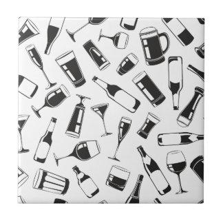 Black Pattern Drinks and Glasses Tile