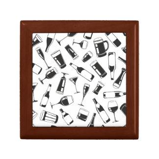 Black Pattern Drinks and Glasses Trinket Boxes