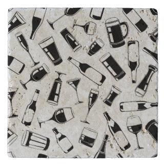 Black Pattern Drinks and Glasses Trivet