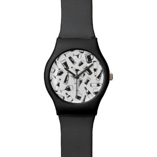 Black Pattern Drinks and Glasses Watches