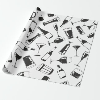Black Pattern Drinks and Glasses Wrapping Paper