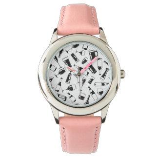 Black Pattern Drinks and Glasses Wrist Watch