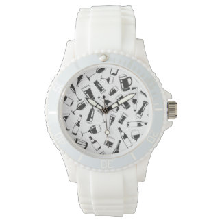 Black Pattern Drinks and Glasses Wrist Watches