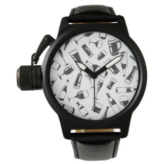 Black Pattern Drinks and Glasses Wristwatch
