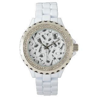 Black Pattern Drinks and Glasses Wristwatches
