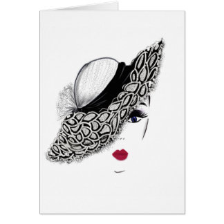 black pattern Hat Lady Card