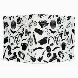 Black Pattern Hipster 3 Ring Binder