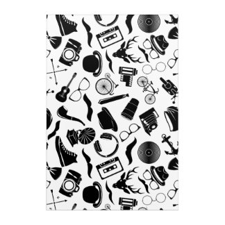 Black Pattern Hipster Acrylic Print