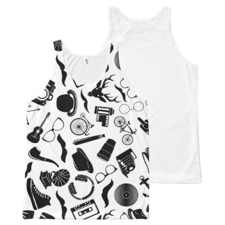 Black Pattern Hipster All-Over-Print Tank Top