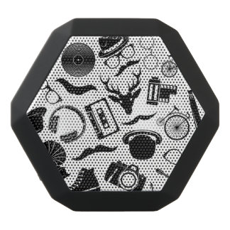 Black Pattern Hipster Black Bluetooth Speaker