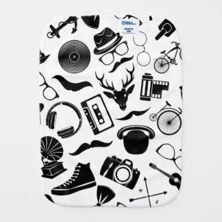 Black Pattern Hipster Burp Cloth