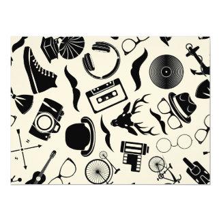 Black Pattern Hipster Card