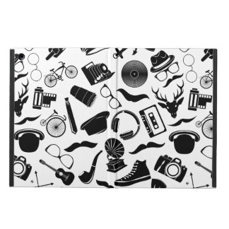 Black Pattern Hipster Case For iPad Air