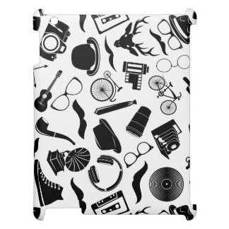 Black Pattern Hipster Case For The iPad
