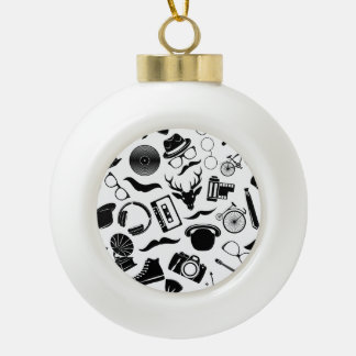 Black Pattern Hipster Ceramic Ball Ornament