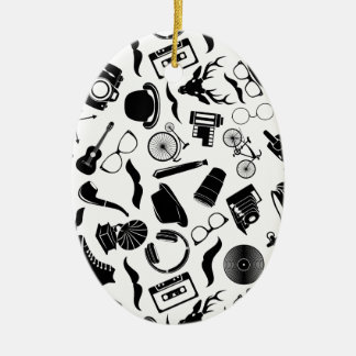 Black Pattern Hipster Ceramic Oval Ornament