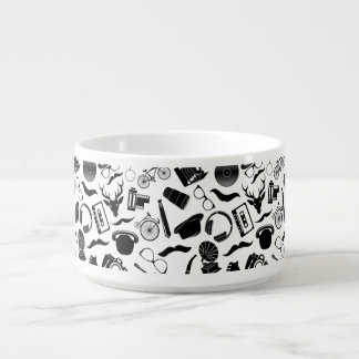 Black Pattern Hipster Chili Bowl