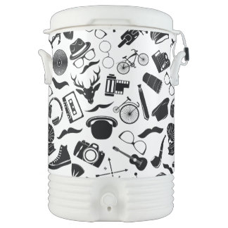 Black Pattern Hipster Cooler