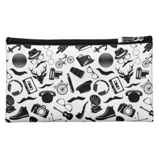 Black Pattern Hipster Cosmetics Bags