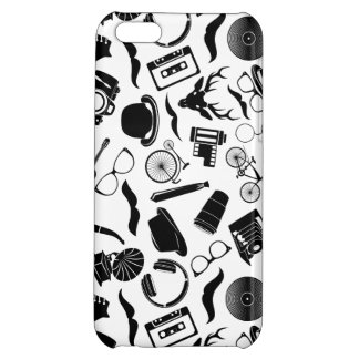 Black Pattern Hipster Cover For iPhone 5C