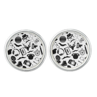 Black Pattern Hipster Cuff Links