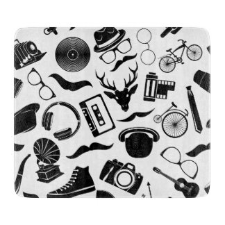 Black Pattern Hipster Cutting Board