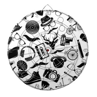 Black Pattern Hipster Dartboard