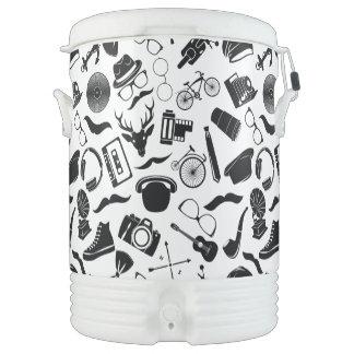 Black Pattern Hipster Drinks Cooler