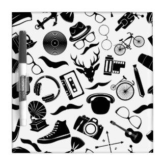 Black Pattern Hipster Dry-Erase Boards