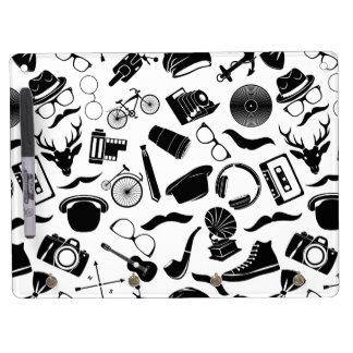 Black Pattern Hipster Dry Erase Boards