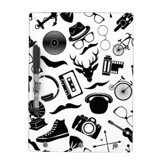 Black Pattern Hipster Dry-Erase Whiteboard