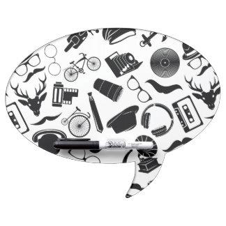 Black Pattern Hipster Dry Erase Whiteboard