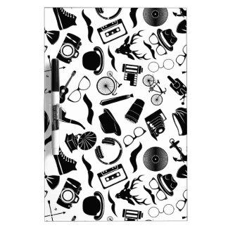 Black Pattern Hipster Dry Erase Whiteboards