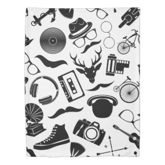 Black Pattern Hipster Duvet Cover