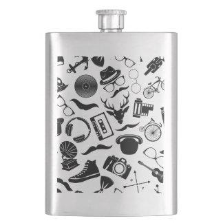 Black Pattern Hipster Flask