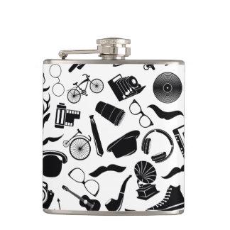 Black Pattern Hipster Flasks