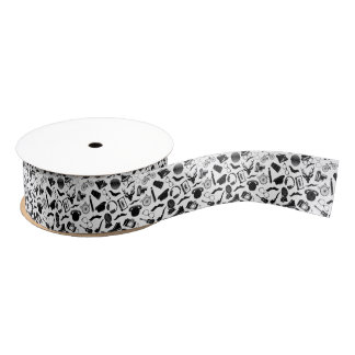 Black Pattern Hipster Grosgrain Ribbon