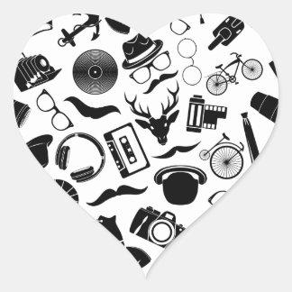 Black Pattern Hipster Heart Sticker