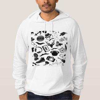 Black Pattern Hipster Hoodie