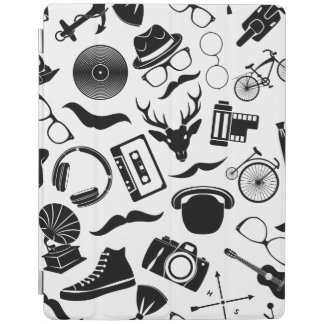 Black Pattern Hipster iPad Cover