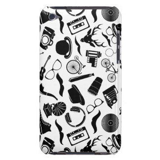 Black Pattern Hipster iPod Case-Mate Cases