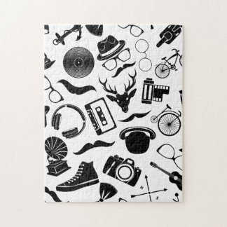 Black Pattern Hipster Jigsaw Puzzle