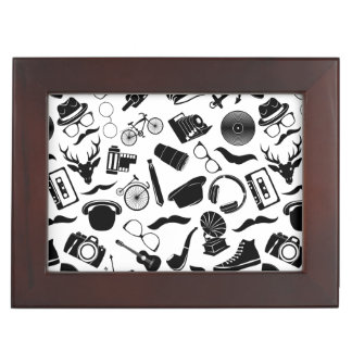 Black Pattern Hipster Keepsake Box