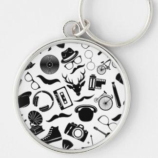 Black Pattern Hipster Keychain