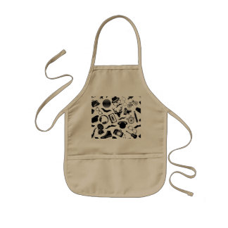 Black Pattern Hipster Kids Apron