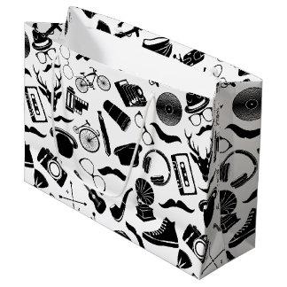 Black Pattern Hipster Large Gift Bag